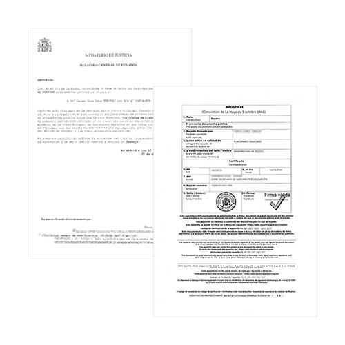 Antecedentes Penales + Apostilla de la Haya