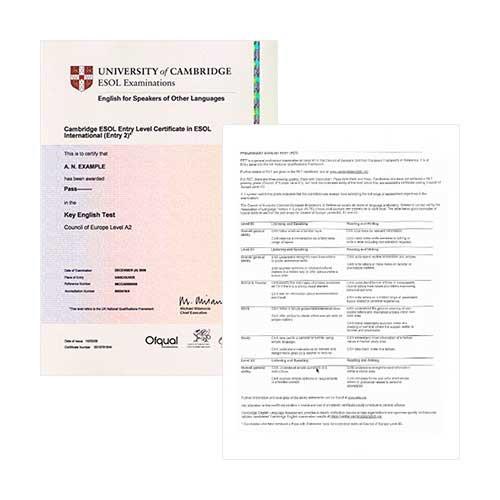 Certificado de Cambridge - 2 caras