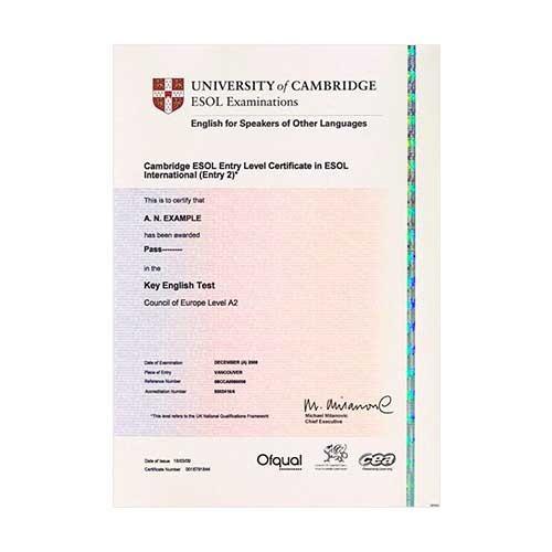 Certificado de Cambridge