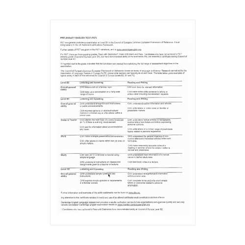 Certificado de Cambridge - Cara trasera