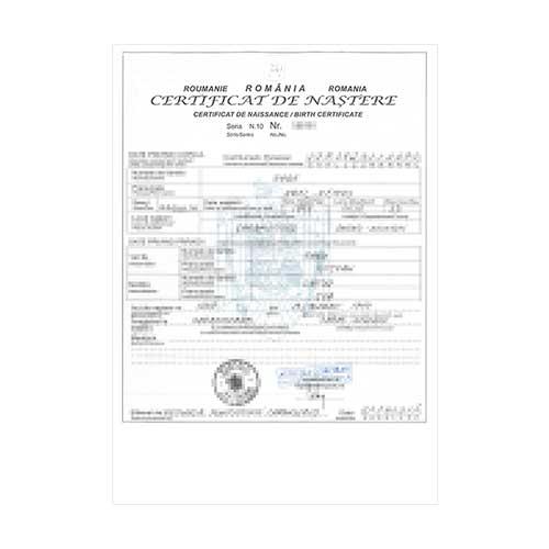 Certificado de nacimiento Rumanía
