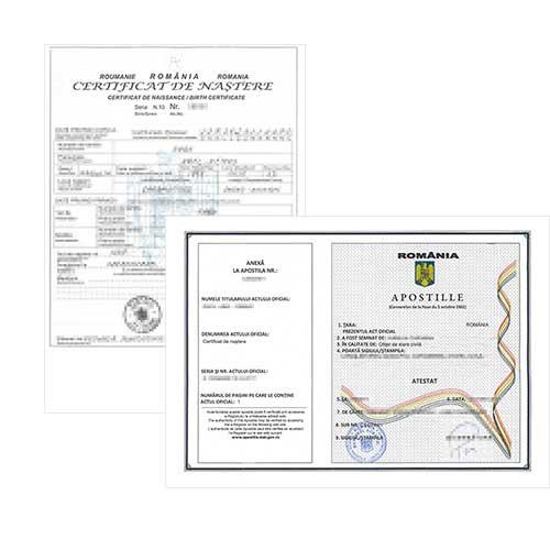 Certificado de nacimiento con-Apostilla - Rumanía