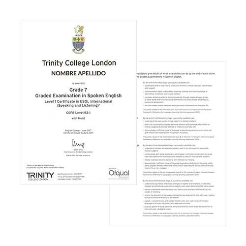 Certificado de Trinity College London - Cara delantera y trasera