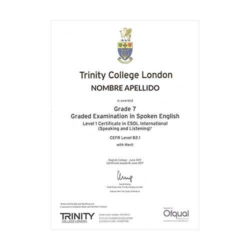 Certificado de Trinity College London