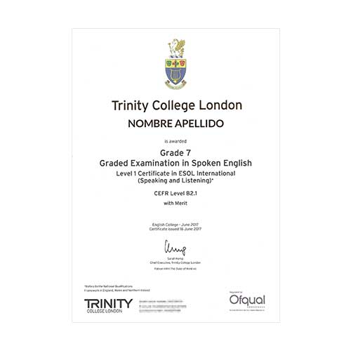 Certificado de Trinity College London