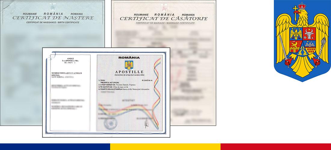 Apostilla de la Haya y legalización para documentos de Rumanía