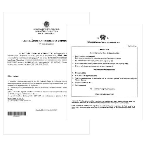 Certificado de antecedentes penales y Apostilla de la Haya Portugal