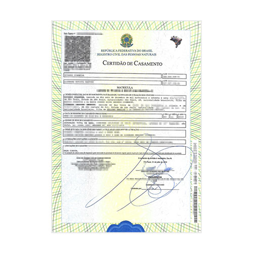 Certificado de matrimonio - Brasil