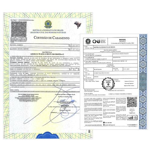 Certificado de matrimonio con Apostilla de la Haya- Brasil