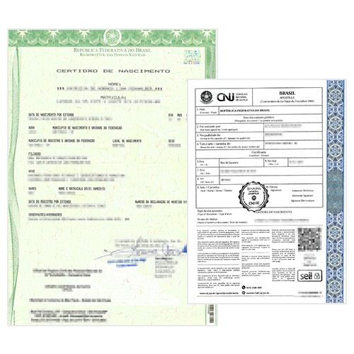 Certificado de nacimiento brasileño y Apostilla de la Haya