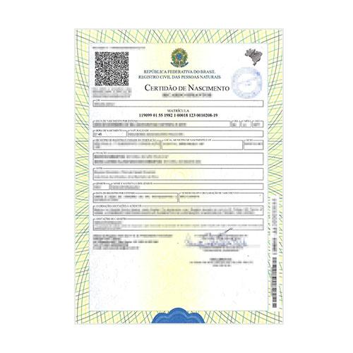 Certificado de nacimiento brasileño