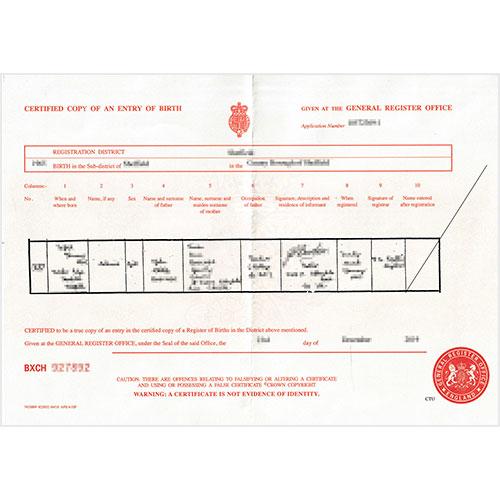 Certificado de nacimiento británico